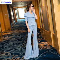 Women Summer Autumn Double Breasted V Neck Batwing Sleeve Short Blazer Sexy Bodycon Flare Pant Casual