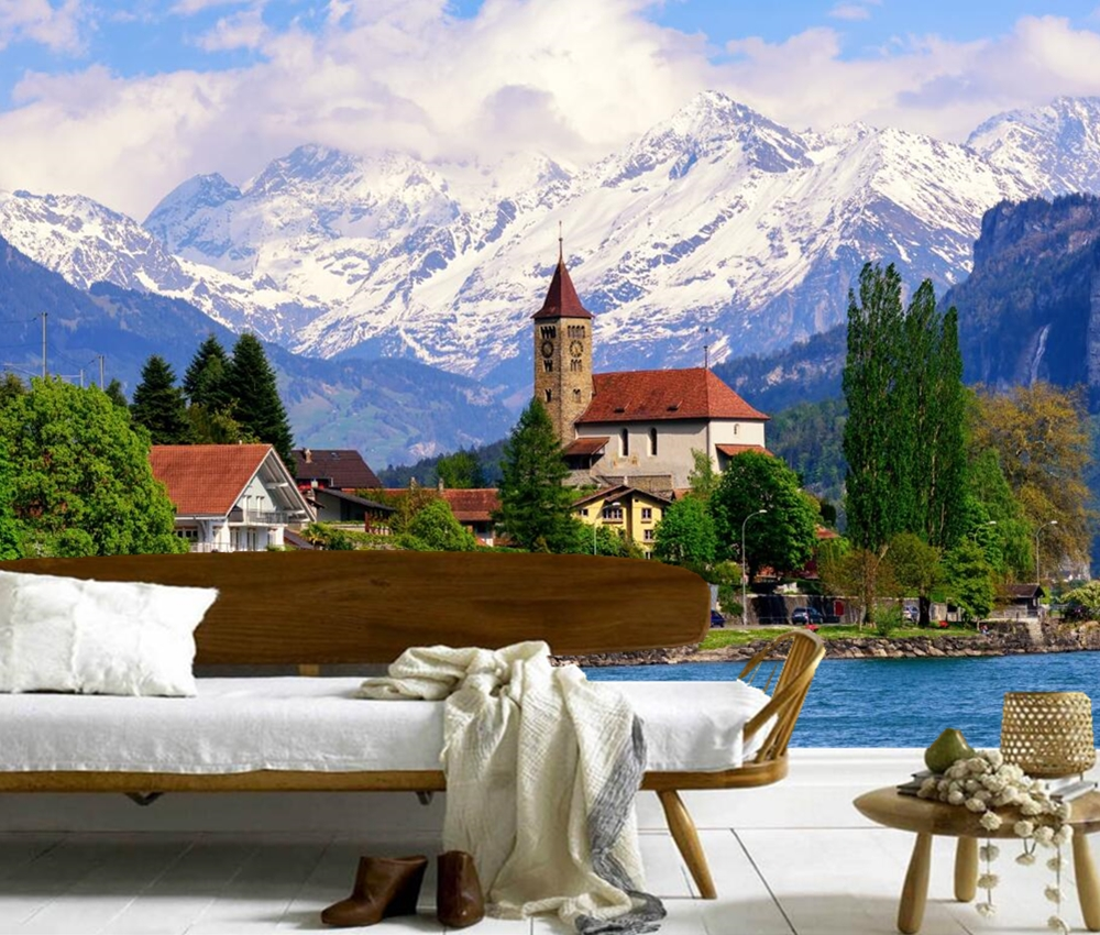 Download Wallpaper Mountain Bedroom - Switzerland-Lake-Houses-Mountains-city-Building-wallpaper-living-room-TV-background-sofa-wall-bedroom-restaurant-bar  Trends_982131.jpg