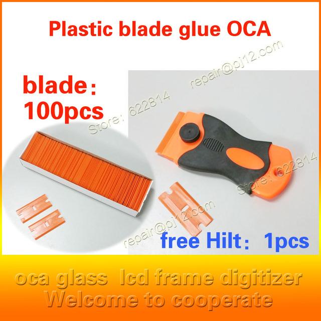 Nueva oca adhesivo lámina de limpieza de plástico hoja de cuchillo de hoja polarizada pantalla LCD de reparación para iPhone5 6 s