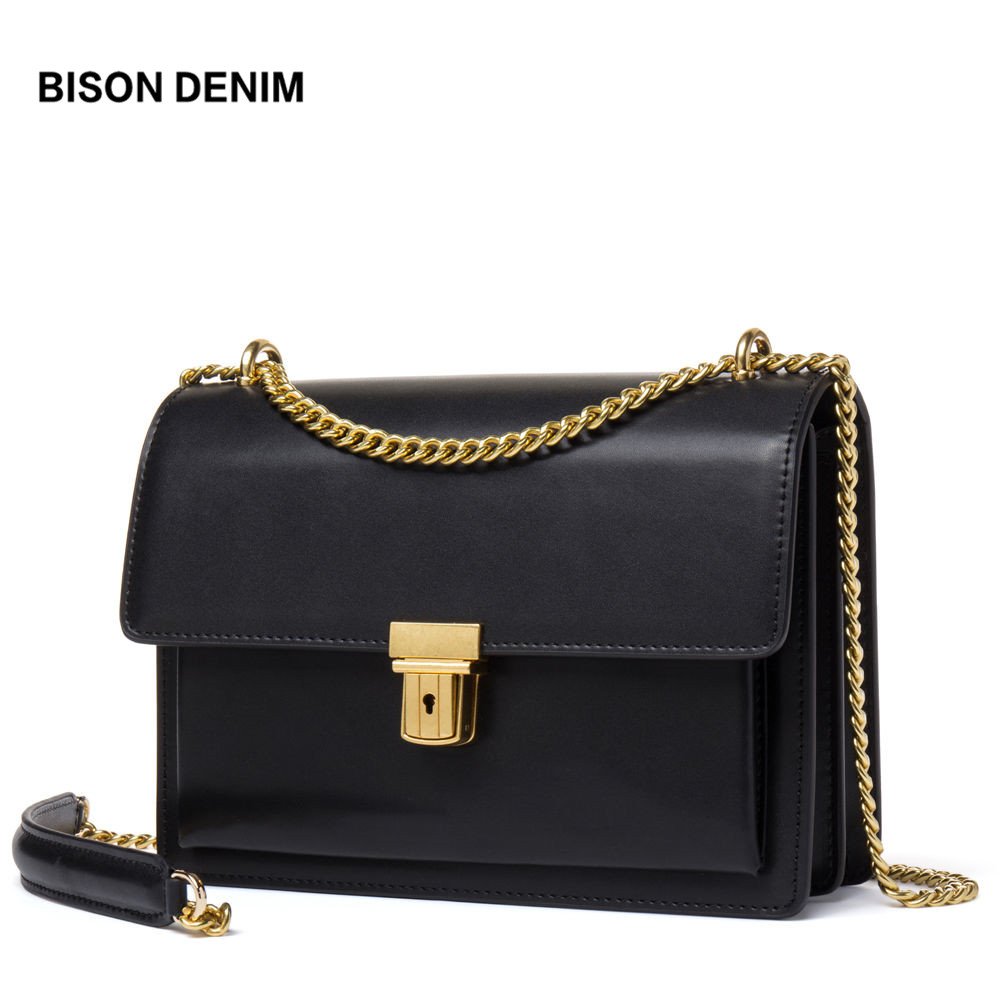 BISON DENIM Hot Sale Women Messenger Bags High Quality Genuine Leather Famous Brand Design Luxury Women Shoulder Bags N1401 hot sale simple fashion women bags natural soft genuine leather women messenger bags famous brand shoulder bags crossbody bags