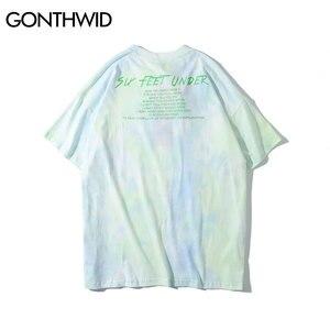 Image 3 - GONTHWID melek gül baskı batik Tee gömlek Streetwear yaz erkekler moda Hip Hop Casual gömlek Harajuku kısa kollu üstleri