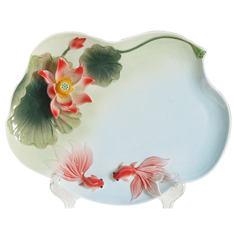 New Color Enamel Tea Coffee Tray 3D Lotus Goldfish Ceramic Drinkware Chinese Kung Fu Tea Set