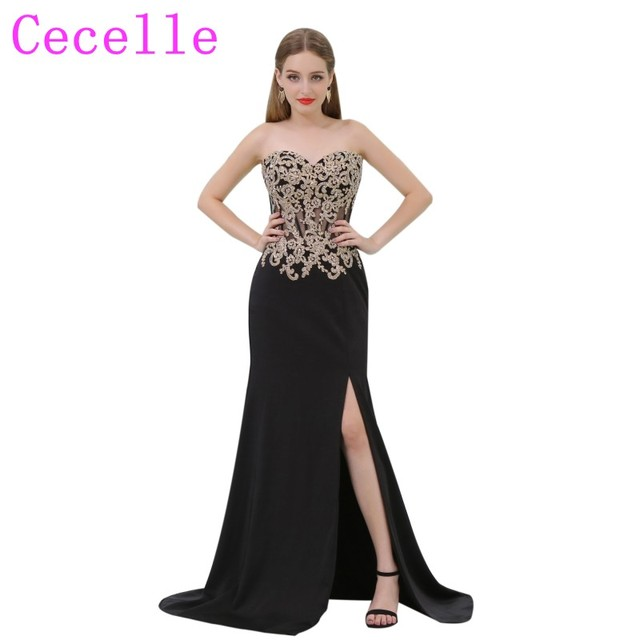 2018 New Sheath Long Black and Gold Prom Dress With Sweetheart ...