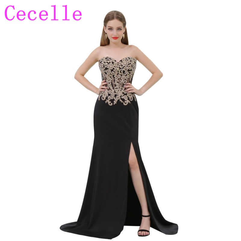 2019 New Sheath Long Black and Gold   Prom     Dress   With Sweetheart Neckline Sheer Bodice Side Split Sexy   Prom   Party   Dress   Custom