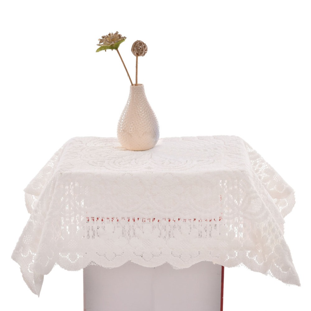 En gros 10 pcs/lot 90*90 cm élégant Europe LaceTablecloth Beige Jacquard serviette Table canapé tissu superpositions décor à la maison Textile