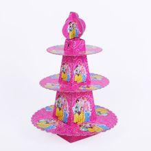 1pcs/set Princess Baby Shower Cartoon Girls Birthday Party Decorations Supplies 3 Tier Cardboard Cupcake Stand 24 Cupcakes