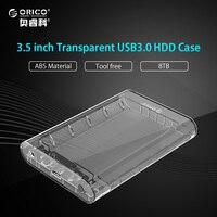 ORICO Outil Livraison Transparent Hdd 3.5 pouce Sata Usb 3.0 Disque dur Boîtier Externe Hdd Box Support UASP jusqu'à 8 TB