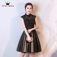 High Neck Black Lace Beading Tulle Short Prom Dresses Women Elegant Party Dress 2018 New Fashion QUEEN BRIDAL PR01