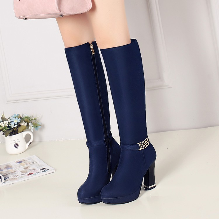 ФОТО Customize big drum side zipper thick heel plus size shoes 30 44 46 female boots high-leg boots free shipping