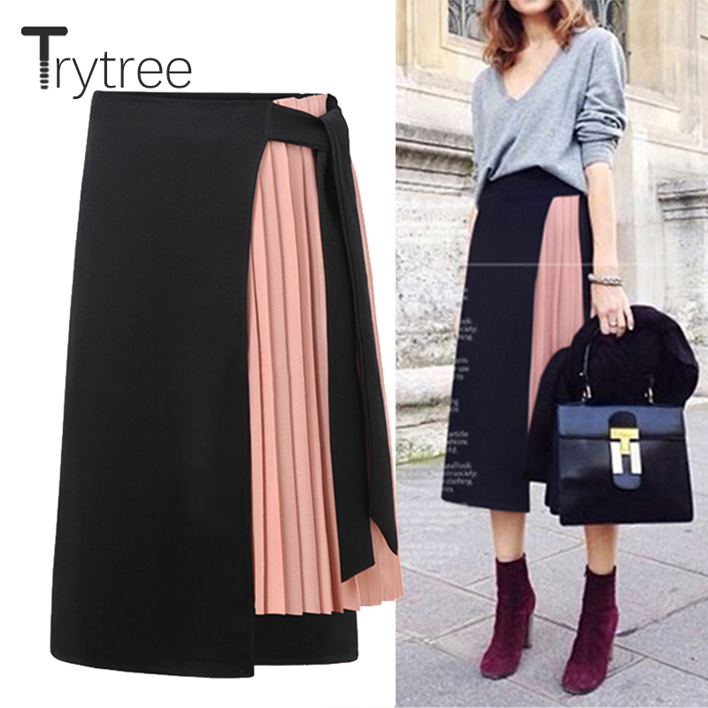 Trytree 2019 Summer Autum Women Skirt Casual Polyester Chiffon Asymmetry High Waist Zipper Skirt Splicing Streetwear Pink Skirts