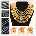 "Hot sale 7-40"" Choose 6/8/10/12/14mm Stainless Steel Silver Or Gold Plated Mens Curb Cuban Link Necklace / Bracelet Jewelry"