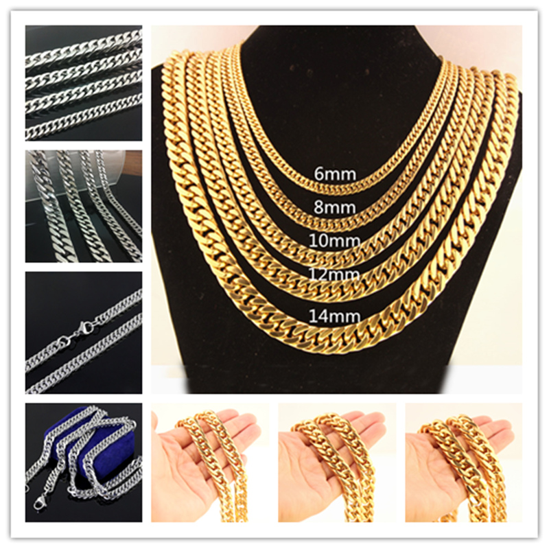 6//8//10mm Fashion Stainless Steel Cuban Curb Link Chain Men Necklace 7-40