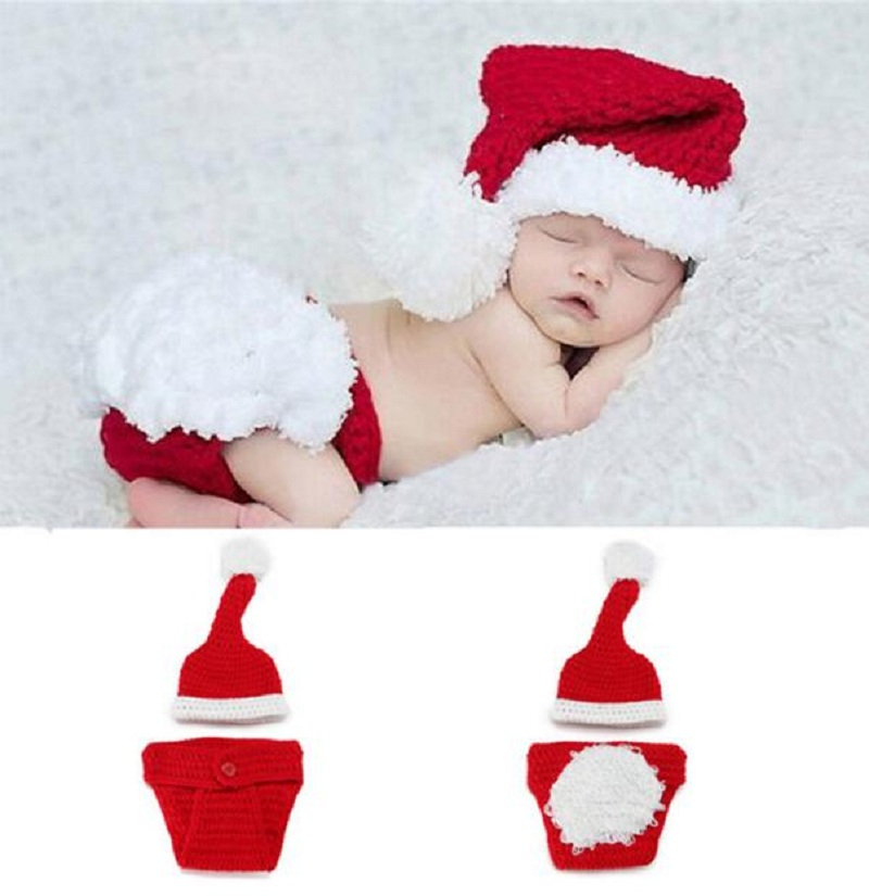 1 set baby christmas hat crochet props beanies for baby winter setxmas photography props newborn christmas infant costumes in hats caps from mother