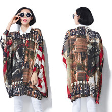 2017 Blusa Plus Size Women Clothing Spring Palace Vintage Style Print Long Sleeve Big Sizes Chiffon Shirt Blouse Freeshipping