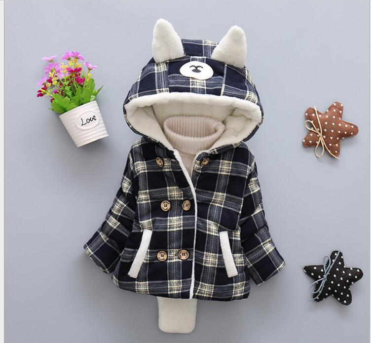 Fall thickening velvet 0-3 years old boy and girl fashion plaid jacket + free gift