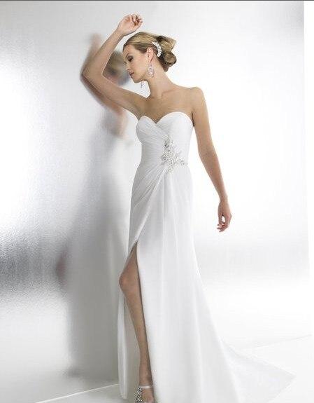 Mousseline de soie blanche a-ligne chérie cristaux personnalisés perles de rocaille wrap médaillon boutons fermeture éclair pas cher 2018 longues robes de demoiselle d'honneur