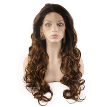 F5 Wavy Ombre Synthetic Lace Front Wig Glueless Ombre Tone Color Black Root Natural Heat Resistant Hair Ombre Wavy Wig