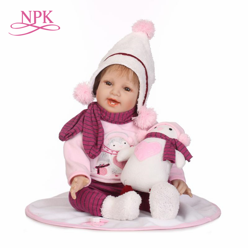NPK 55cm Silicone Reborn Smile Baby Doll Kids Playmate Gift for Girls Bebe Alive Soft Toys for Bouquets Doll Bebes Reborn ToysNPK 55cm Silicone Reborn Smile Baby Doll Kids Playmate Gift for Girls Bebe Alive Soft Toys for Bouquets Doll Bebes Reborn Toys