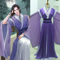 Male Costume Hanfu Ancient Chinese Swordman Scholars Prince Purple Costume Hanfu Handdrawing Anime Cosplay Costume Male Hanfu