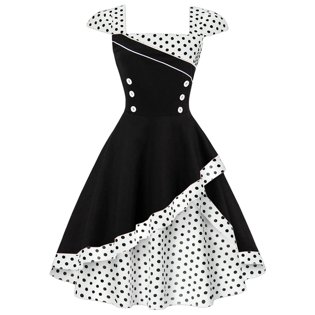 8d14a9d7d9ecb US $17.85 49% OFF|Kenancy Plus Size 4XL Women Retro Dress 50s 60s Vintage  Rockabilly Swing Feminino Vestidos Polka Dot Print Cosplay Cotton Dress -in  ...