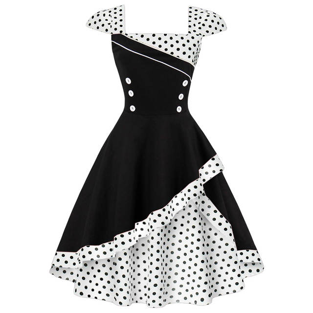 6c25ef7d8dded Online Shop Kenancy Plus Size 4XL Women Retro Dress 50s 60s Vintage  Rockabilly Swing Feminino Vestidos Polka Dot Print Cosplay Cotton Dress