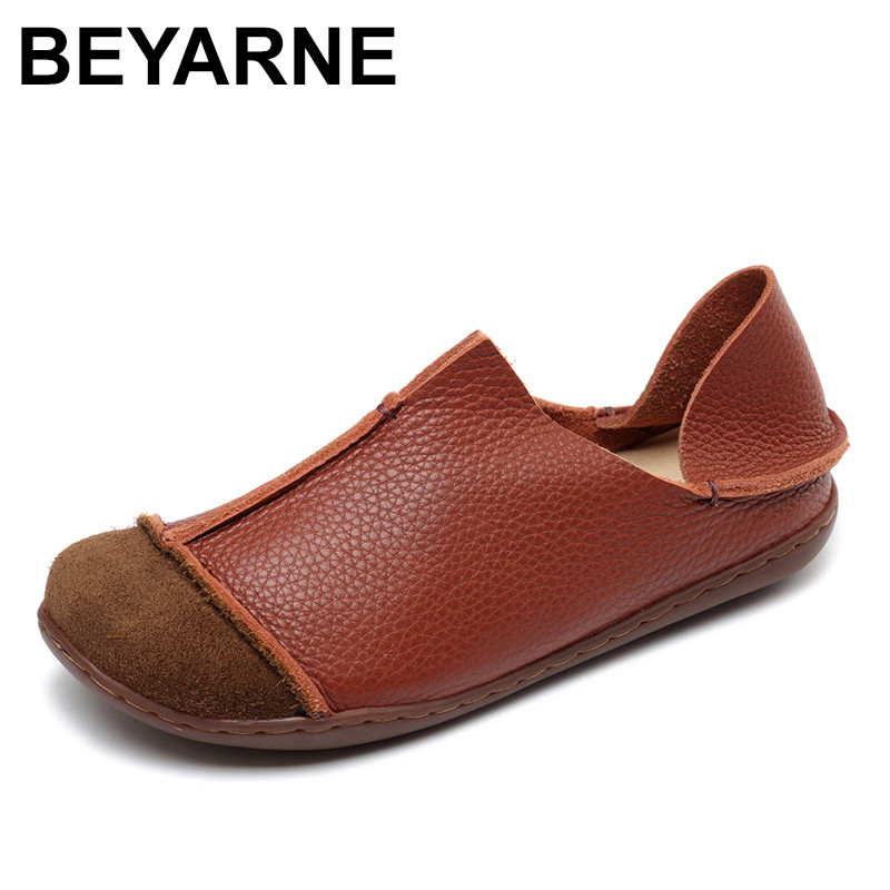 BEYARNE 2018 Woman Shoes Autumn Genuine Leather Loafers Solid Slip-On Round Toe Handmade Flats