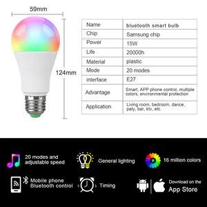 Image 5 - 85 265V E27 LED מנורת RGB 15W Bluetooth Wifi APP שליטה חכם הנורה 10W RGBW RGBWW אור הנורה IR שלט רחוק בית תאורה