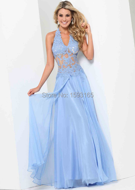 Halter Top Lace Applique Sheer Bodice Periwinkle Winter Formal Dress