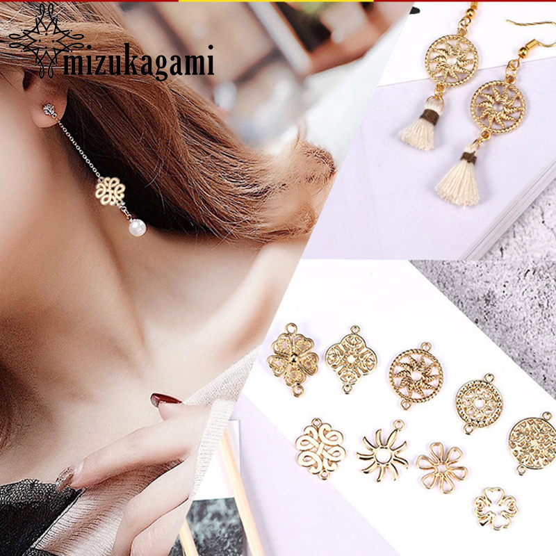 10pcs/lot Gold Zinc Alloy Flowers Geometry Charms Earrings Connectors For DIY Earrings Jewelry Making Finding Accessories