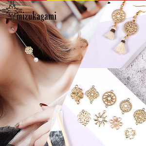 10pcs/lot Gold Zinc Alloy Flowers Geometry Charms Earrings Connectors For DIY Earrings Jewelry Making Finding Accessories(China)
