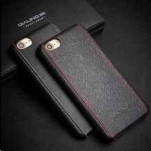Для iphone 7 4.7 дюймовый жесткий случаях qialino натуральная кожа с покрытием твердый переплет для iphone 7-черный крест текстура
