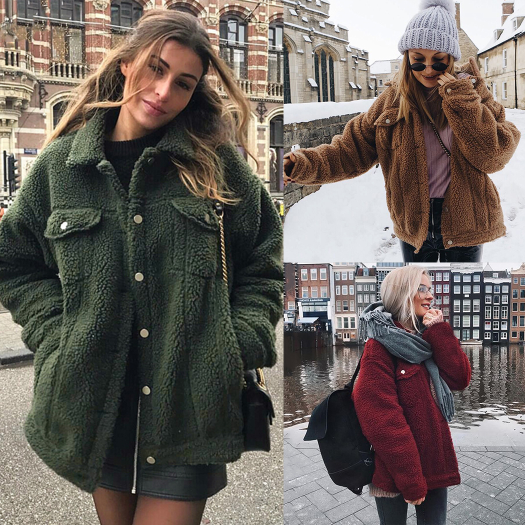 1d33c19a45b Women Faux Fur Teddy Coat Spring Winter Fluffy Warm Jackets Outwear Fashion  Button Pocket Hairy Coats