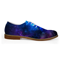 Blue Galaxy Party Shoes Men Wedding Lace Up Loafers Man Dress Work Flats Plus Size 41 45 Male Flats Autumn Breathable Footwear