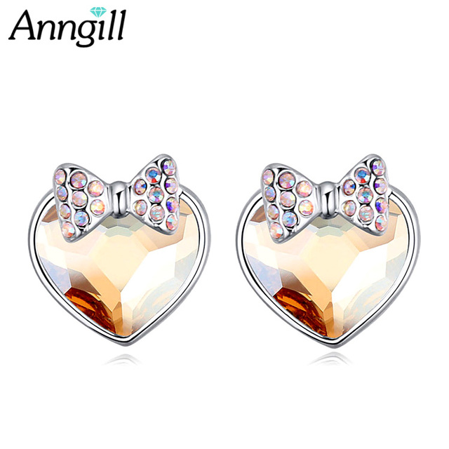 Anngill Unique Design Genuine Crystals From Swarovski Stud Earrings For Women Bow Knot Heart Earring Love