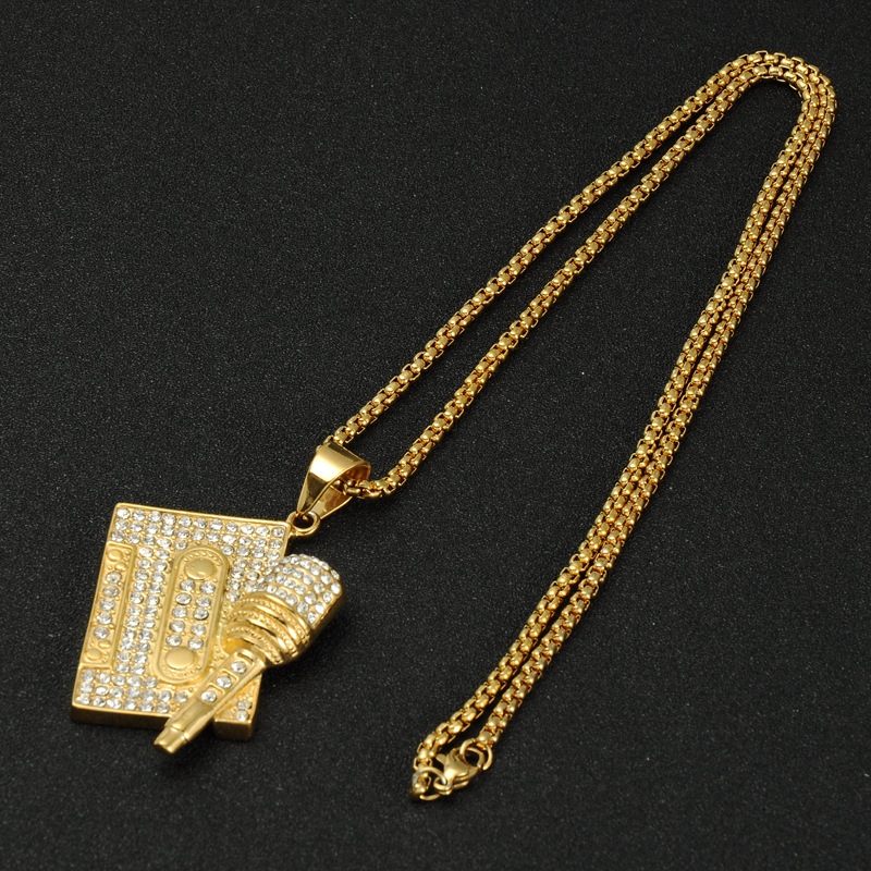 Hip Hop Microphone Tape Rock Bling Iced Out Pendants Necklace Mens Stainless Steel Music Jewelry Gold Color Chain in Pendant Necklaces from Jewelry Accessories