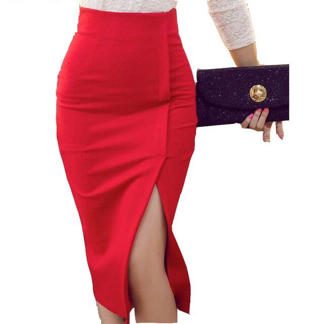9229f69c2b Spring Women Formal Black Red High Waist Sexy Split Bodycon Midi Skirt Plus  Size Elegant Ladies Female Office Pencil Skirts