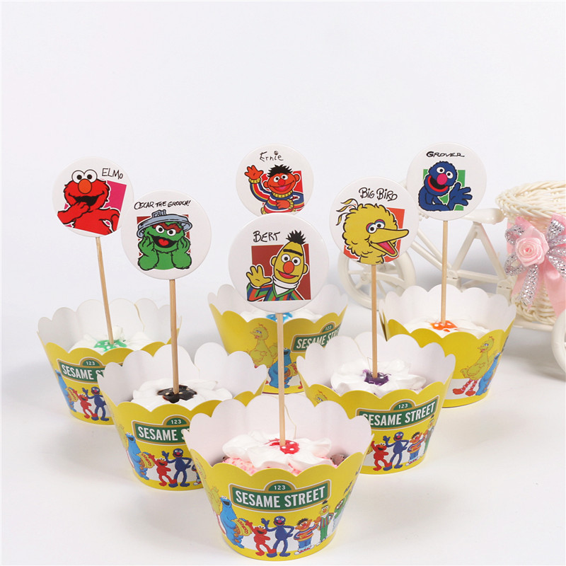 24pcs/lot New <font><b>Sesame</b></font> <font><b>Street</b></font> Cupcake Wrappers 12 Wrappers + 12 Toppers Kids Party Birthday Cake Decoration <font><b>Cups</b></font>