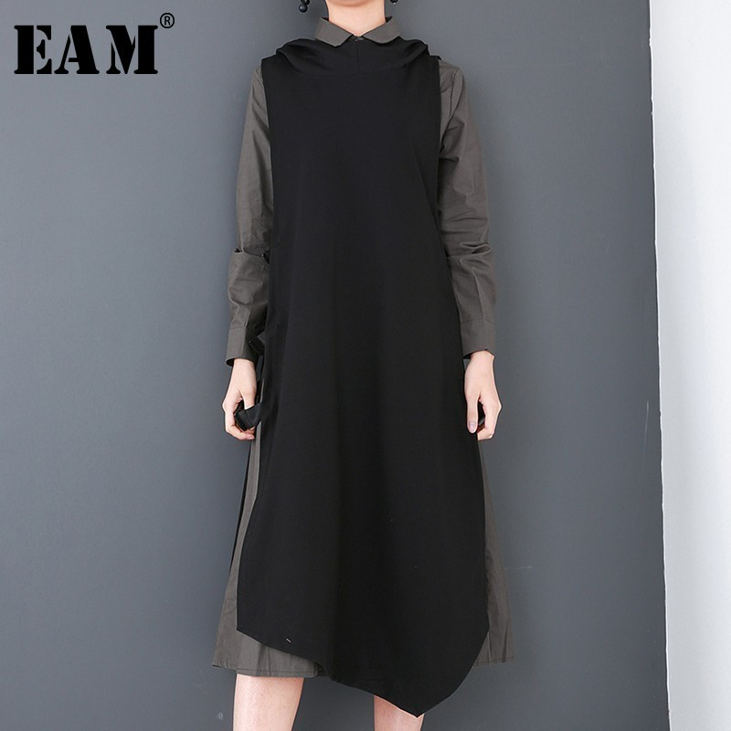 [EAM] 2018 New Autumn Round Neck Long Sleeve White Green Vest Buckle Hit Color Two Piece Dress Women Fashion Tide JD900