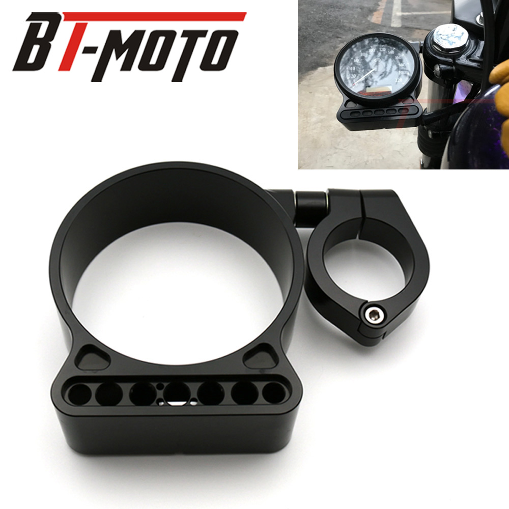 "Black Aluminum 39mm/16"" Side Mount Speedo Relocator Bracket For Harley Sportster Xl 883 1200 48 Deluxe Hugger Iron XLH"