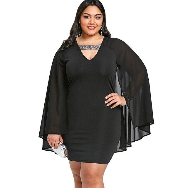 b1fa909ebfe9b 5XL Plus Size Sequined Trim Cape Dress Women Knee-length V-neck Dress Sexy  Black Cloak Sleeve A-line Dress Female Party Dress