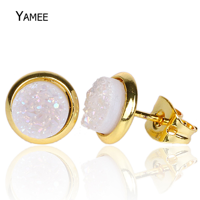 6mm Round Convex Druzy Crystal Earrings Gold Plating Natural Stone Simple Design Small Stud For Women