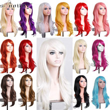 SNOILITE Cosplay Wig yellow 23Inch long wavy wig Women Halloween Synthetic hair Wigs with bang cosplay wig red brown blue
