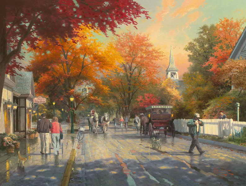 Free shipping! Autumn on Mackinac Island Thomas Kinkade HD Canvas Print Living Room Bedroom Wall Art Painting Home Decoration