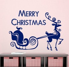 Merry Christmas Wall Decal Deer wall art  Decal Holiday Stickers Merry Christmas Vinyl Letters Home Decor Living Room  Art