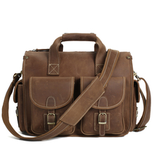 ROCKCOW Top Grade Mens Real Crazy Horse Leather Briefcase Vintage Style Messenger Shoulder 13 inch Laptop Bag Case 7106