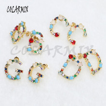 5 pairs Alphabets stud earrings letters stud earrings crystal stone earrings leave message to choose wholesale jewelry 5138(China)
