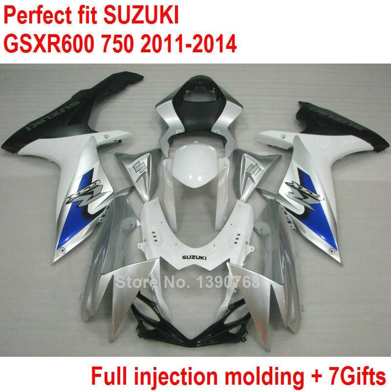Injection Bodywork fairing kit for Suzuki GSXR600 GSXR750 11 12 13 14 white silver fairings set GSXR 600 750 2011 2012 2013 2014