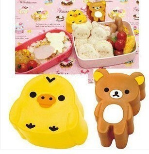 2pcs/set rilakkuma easily bear DIY bear and chicken shape Rice ball sushi bread sandwich cake cookie mold mould cutter image