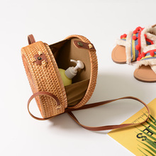 Round Straw Bags Women Summer Rattan Bag Handmade Woven Beach Cross Body Bag Circle Bohemia Handbag