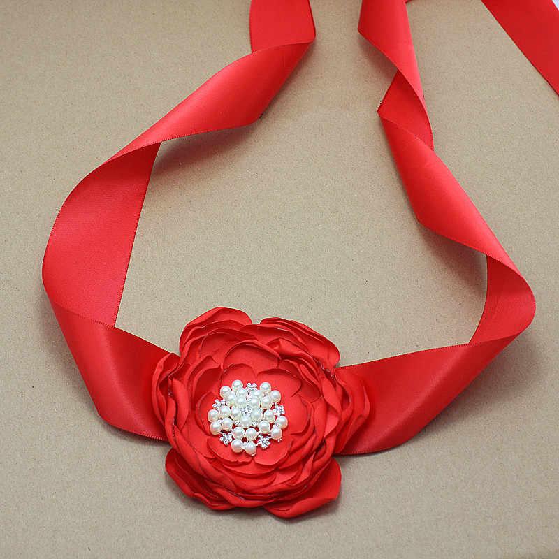Princesa Rosa satén flor faja con diamantes de imitación boda fiesta nupcial seda flor cinturón vestido faja chica vestido Accesorios